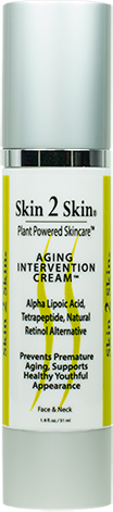 Skin 2 Skin Aging Intervention Cream with Alpha Lipoic Acid, Tetrapeptide, 33 Antioxidants Promoting Healthy Youthful Skin